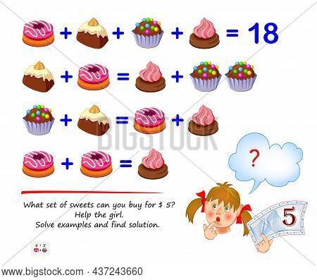 Mathematical Logic Puzzle Game For Smartest. What Set Of Sweets Can You Buy For 5 $? Help The Girl.