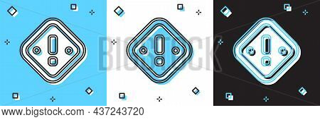 Set Exclamation Mark In Triangle Icon Isolated On Blue And White, Black Background. Hazard Warning S