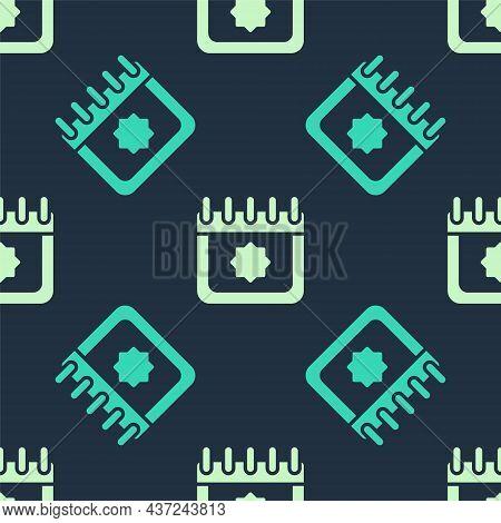 Green And Beige Ramadan Calendar Icon Isolated Seamless Pattern On Blue Background. Ramadan Kareem A