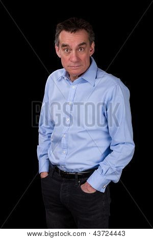 Surprised Shocked Staring Business Man In Blue Shirt