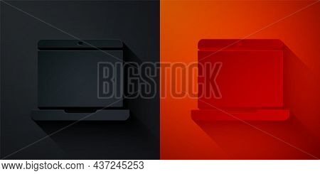 Paper Cut Laptop Icon Isolated On Black And Red Background. Computer Notebook With Empty Screen Sign