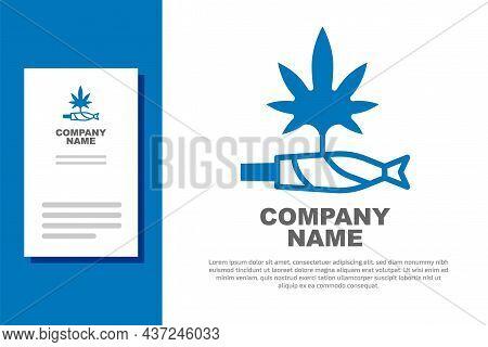 Blue Marijuana Joint, Spliff Icon Isolated On White Background. Cigarette With Drug, Marijuana Cigar
