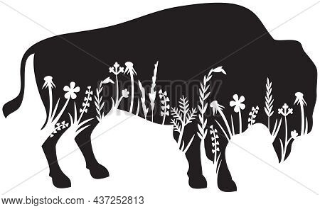 Floral American Bison (buffalo) Vector Icon (grass Silhouettes - Flowers And Plants)