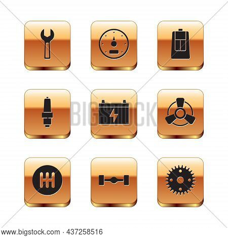 Set Wrench Spanner, Gear Shifter, Chassis Car, Car Battery, Spark Plug, Key With Remote, And Speedom