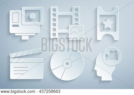 Set Cd Or Dvd Disk, Cinema Ticket, Movie Clapper, Head With Camera, Play Video And Action Extreme Ic