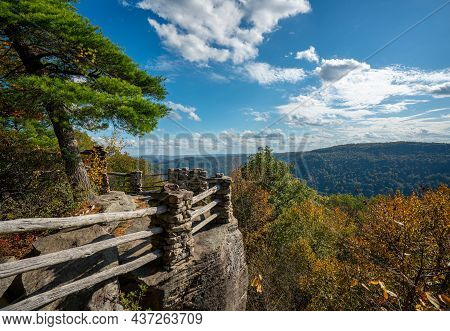 Coopers Rock State Park Overlook Over The Cheat River In Narrow Wooded Gorge In The Autumn. Park Is