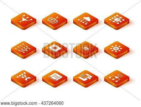 Set Neural Network, Processor Cpu, Server, Data, Artificial Intelligence Ai, Algorithm And Icon. Vec