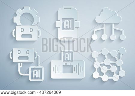 Set Artificial Intelligence Ai, Network Cloud Connection, Robot, Neural Network, And Robot Setting I