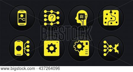 Set Neural Network, Computer Api Interface, Humanoid Robot, And Mobile Phone Icon. Vector