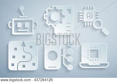 Set Neural Network, Processor Cpu, And Artificial Intelligence Robot Icon. Vector