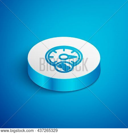 Isometric Line Digital Speed Meter Concept With 5g Icon Isolated On Blue Background. Global Network