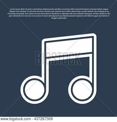 Blue Line Music Note, Tone Icon Isolated On Blue Background. Vector