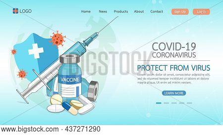 Coronavirus Vaccine Disease Covid-19. Syringe And Vaccine Vial Injection Tool For Immunization Treat