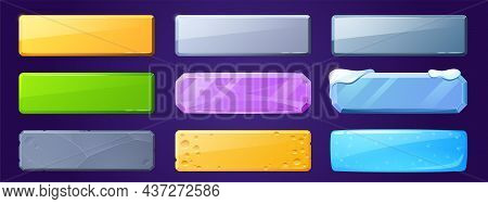Game Ui Buttons For App Interface, Cartoon Menu Plaques Or Banners. Textured Gui Graphic Design Elem