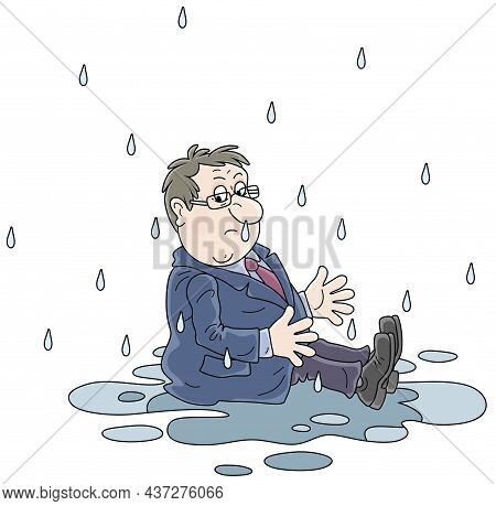 Unlucky, Sad And Wet Businessman Sitting In A Puddle On A Rainy Day For Failure, Vector Cartoon Illu