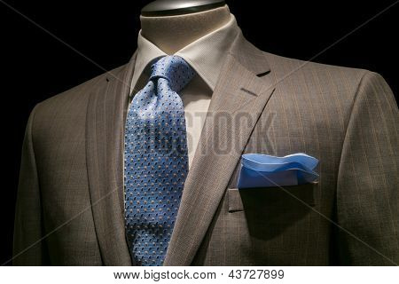 Tan Striped Jacket, Textured White Shirt, Patterned Blue Tie & Handkerchief