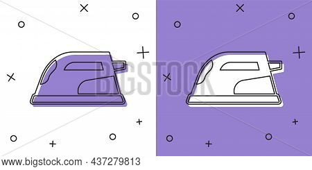 Set Electric Iron Icon Isolated On White And Purple Background. Steam Iron. Vector
