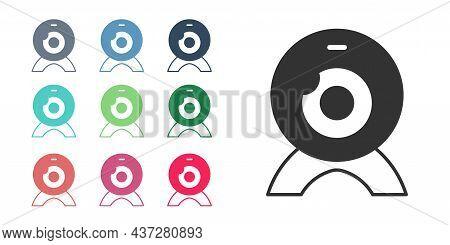 Black Web Camera Icon Isolated On White Background. Chat Camera. Webcam Icon. Set Icons Colorful. Ve