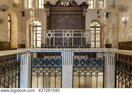 Cairo, Egypt- September 25 2021: Altar Of Historic Jewish Maimonides Synagogue Or Rav Moshe Synagogu