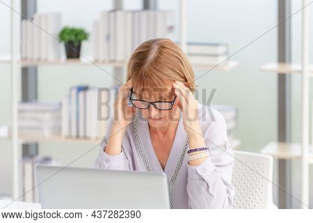 Unhealthy Mature Woman Touch Forehead Suffers From Migraine Strong Headache, Woman Massaging Temples