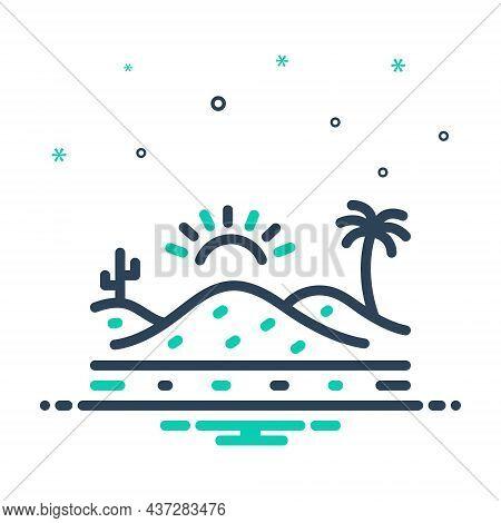 Mix Icon For Desert Sand Sandbar Thorn Landscape Cactus Barren Infertile Natural Sun
