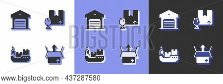 Set Unboxing, Warehouse, Cargo Ship With Boxes Delivery And Package Fragile Content Icon. Vector
