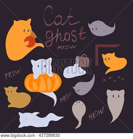 Halloween Set Of Cute Ghost Cats. Collection Of Cute Flying Spirit Kittens. Halloween Pets. Suitable