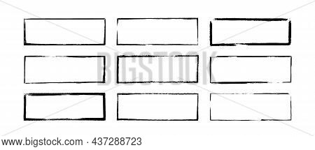 Ink Rectangle Stamps. Grunge Empty Black Frames Set. Square Borders Collections. Rubber Stamp Imprin