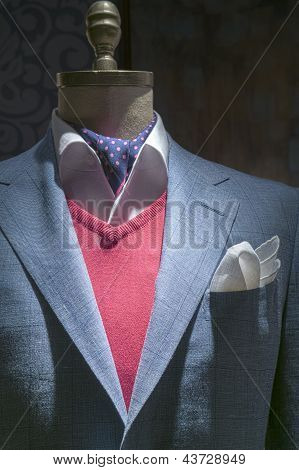 Light Blue Checkered Jacket With Red Sweater, Shirt, Tie & Handkerchief (vertical)
