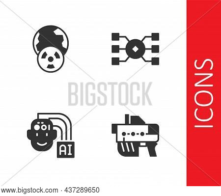 Set Futuristic Weapon, Planet Earth And Radiation, Humanoid Robot And Neural Network Icon. Vector