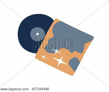 Retro Vinyl Album Cover And Lp Disc. Old Vintage Music Record On Black Disk Of 60s. Oldschool Nostal