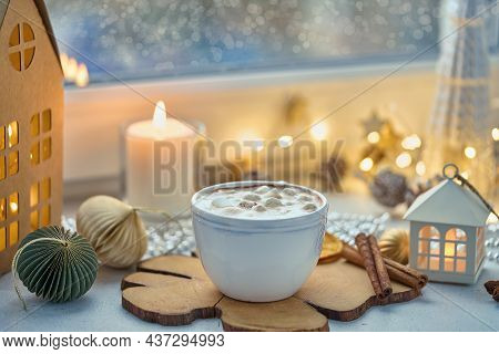Chocolate Drink With Marshmallow, Cinnamon And Milk Froth. Christmas Seasonal Beverage On Decorated