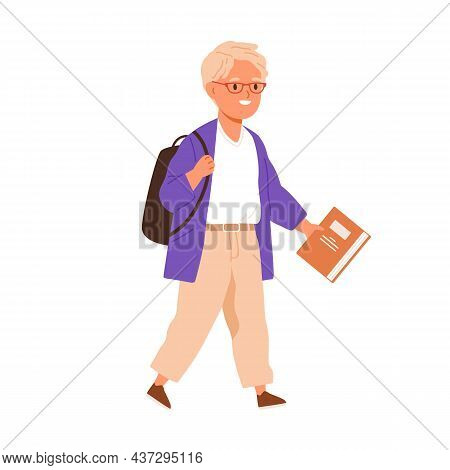 Happy School Boy Going With Schoolbag And Book In Hands. Primary Student Kid Walking With Backpack.
