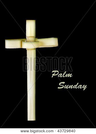 Palm Sunday Cross Made From Leaf Over Black