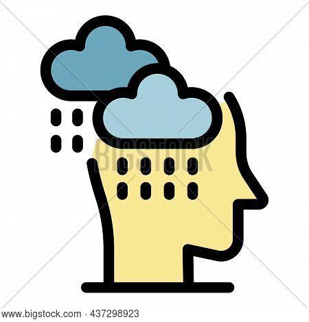 Stress Rainy Icon. Outline Stress Rainy Vector Icon Color Flat Isolated
