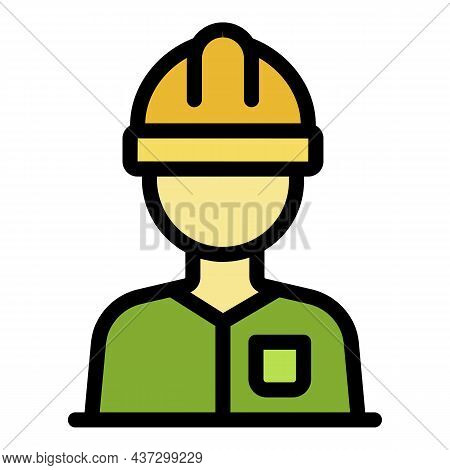 Tiler Worker Icon. Outline Tiler Worker Vector Icon Color Flat Isolated