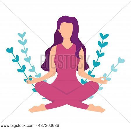 Woman With Red Hair Meditating In Heart Shape Leaves. Concept Illustration For Yoga, Meditation, Rel