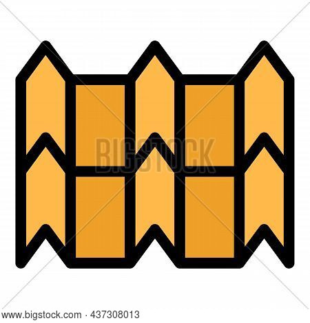 Peaked Metal Tile Icon. Outline Peaked Metal Tile Vector Icon Color Flat Isolated