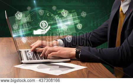 business hand working in stock market