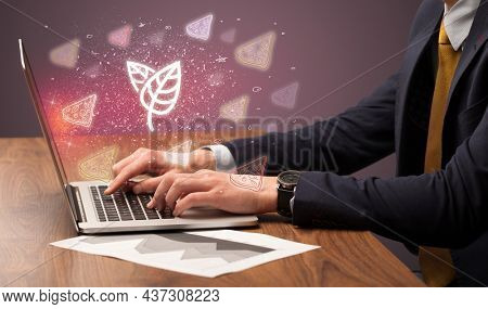 Hand searching for recipes on the internet