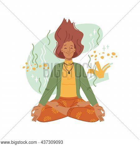 Yoga, Meditation, Woman Meditating In Lotus Pose Isolated Flat Cartoon Character. Vector Peaceful Gi