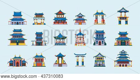 Traditional China Buildings. Ancient Japan Or China Houses Cultural Places For Travellers Garish Vec