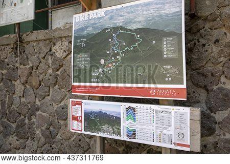 Monte Amiata (si), Italy - August 01, 2021: Amiata Free Ride Map On The Top Of Monte Amiata (1738 Mt