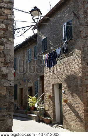 Monticiano (si), Italy - August 01, 2021: Monticiano Houses And Village View, Tuscany, Italy