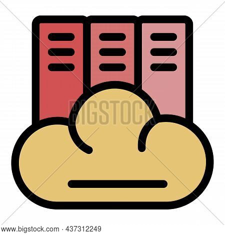 Cloud Library Icon. Outline Cloud Library Vector Icon Color Flat Isolated