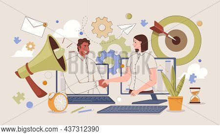 Corporate And Cooperative Business Concept. Handshake After Successful Negotiations. Parties Agreeme