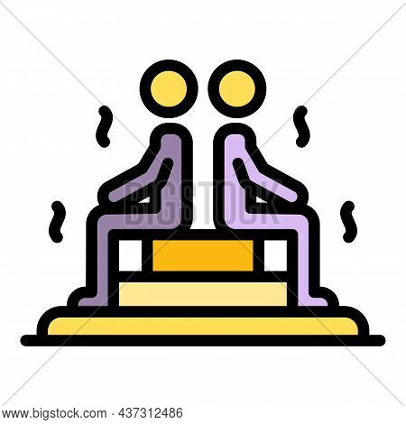 Two People In A Steam Room Icon. Outline Two People In A Steam Room Vector Icon Color Flat Isolated