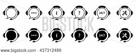 Client Support Service On White Background. Headset With Question Mark, Ellipsis. Hotline Concept Si