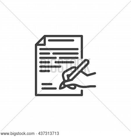 Contract Signing Line Icon. Linear Style Sign For Mobile Concept And Web Design. Hand With Pen Signi