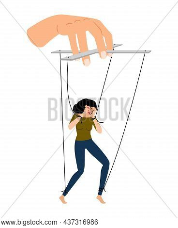 Controlled Girl. Dusty Managed Abused Young Woman Under Manipulation Vector Illustration Isolated On